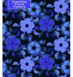 Floral seamless pattern dark blue tone vector