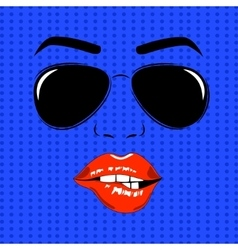 girl face outline with sunglasses vector image vector image