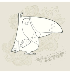 Hand drawn retro cartoon bird vector