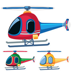 Helicopters in three designs vector