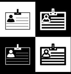 Id card sign black and white icons and vector