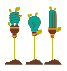 Incandescent and fluorescent bulbs in color vector