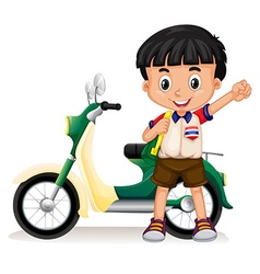 Little boy and motorcycle vector image