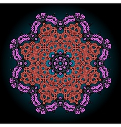 Mandala in pink and red over black background with vector