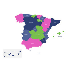 Map of spain devided to administrative autonomous vector