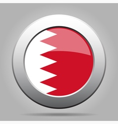 metal button with flag of Bahrain vector image vector image