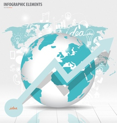 Modern world globe with application icon modern vector image