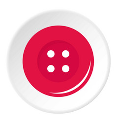 Pink sewing button icon circle vector