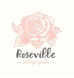 rose label sketch art vector image vector image
