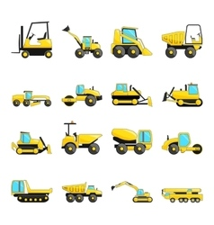 Set of construction machinery isolated flat icons vector
