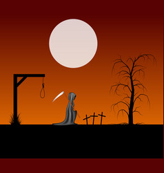 spooky background with grim reaper with scythe vector image