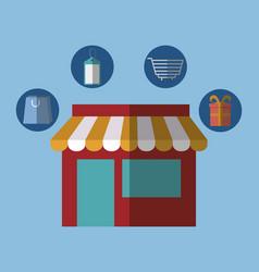 Store building icon vector