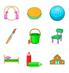 Stuff to education icons set cartoon style vector