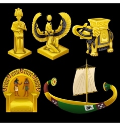 Symbols of Egypt monuments and other items vector image