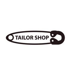 tailor shop sewing pin logo isolated on white vector image