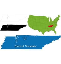 Tennessee map vector image vector image