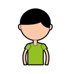 Upper body boy cartoon vector