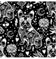 Vintage traditional tattoo flash seamless pattern vector
