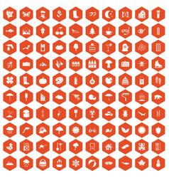 100 landscape icons hexagon orange vector