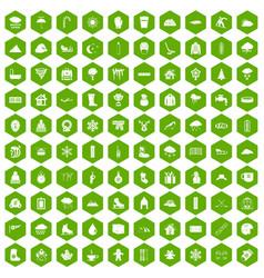 100 snow icons hexagon green vector