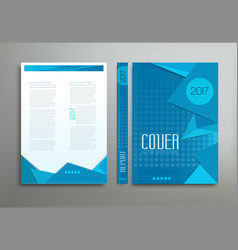 Blue template brochure book report business vector