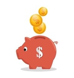 pink piggy money bank icon vector image
