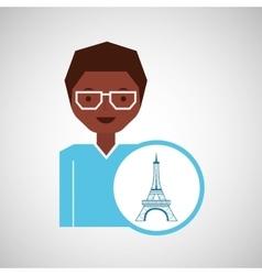 character woman traveler paris icon design graphic vector image