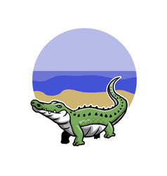 green crocodile vector image