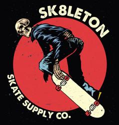 skull skateboarding vector image
