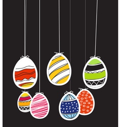 Easter eggs on rope vector