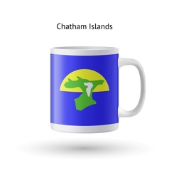 Chatham islands flag souvenir mug on white vector