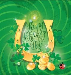 Happy St Patricks Day Shamrock horseshoe ladyb vector image