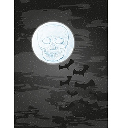 Night with moon skull and bats vector