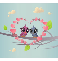 Two enamoured birdies vector