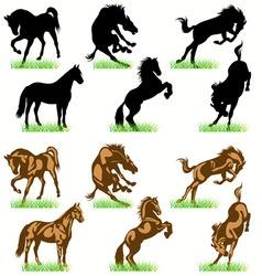 horses set02 vector image