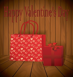 Valentine day realistic red shopping bag with vector