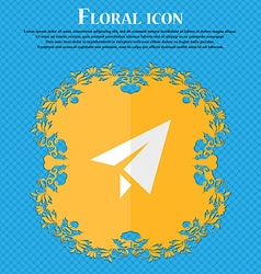 Paper airplane floral flat design on a blue vector