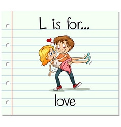 Flashcard letter l is for love vector