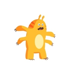 Childish monster with four arms vector