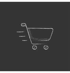 Shopping cart drawn in chalk icon vector