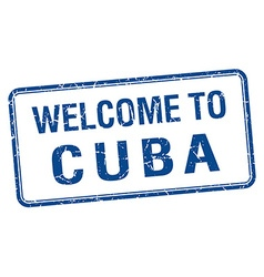 Welcome to cuba blue grunge square stamp vector