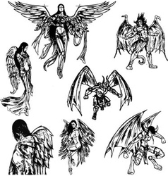 Angels and demons - hand drawn sketch vector