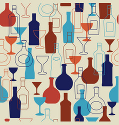 bar background with bottles and glasses vector image vector image