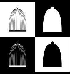 Bird cage sign black and white icons and vector