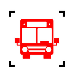 Bus sign red icon inside vector