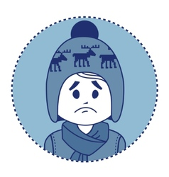 Character sad boy in winter hat and scarf vector image