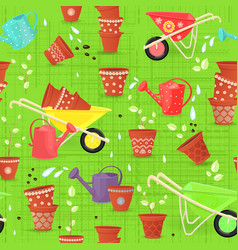 colorful seamless texture with equipment garden vector image vector image