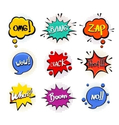 Comic speech bubble set on white background vector