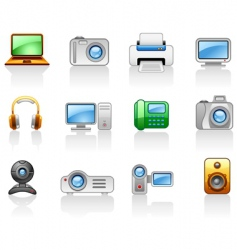 Electronics computers multimedia icon set vector