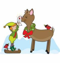 Elf and rudolf vector